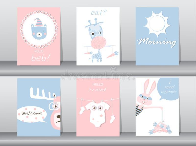 Satz Nette Tiere Plakat, Schablone, Karten, Bär, Kaninchen, Giraffe ...