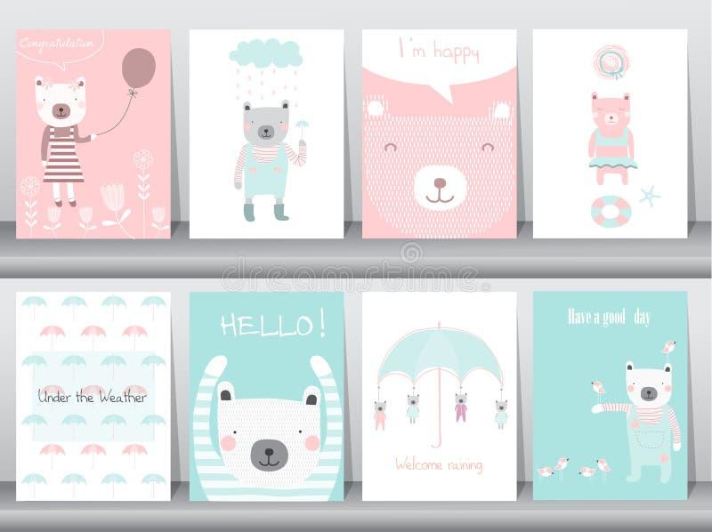 Satz nette Tiere Plakat, Schablone, Karten, Bär, Vektorillustrationen lizenzfreie abbildung
