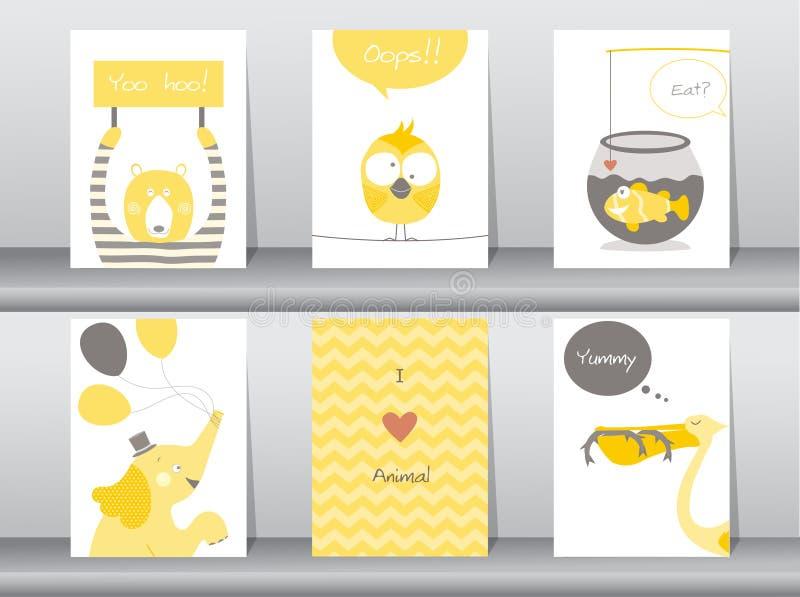 Satz Nette Tiere Plakat, Schablone, Karten, Elefant, Vogel, Fisch ...