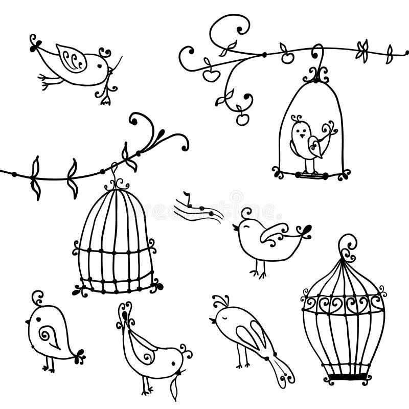 Satz nette Vögel und Niederlassungen von Bäumen mit den Käfigen des Vogels vektor abbildung