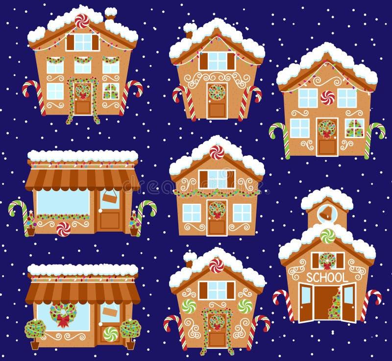 Satz nette Vektor-Feiertags-Lebkuchen-Häuser, Shops und andere Gebäude stock abbildung