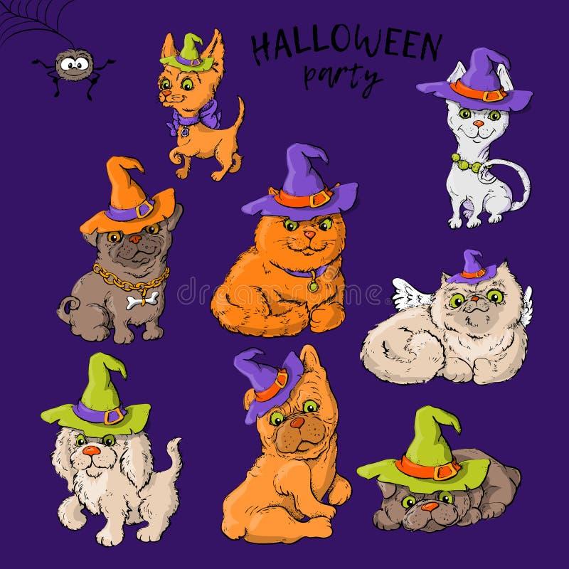 Satz nette Zeichentrickfilm-Figuren der Karikatur einer Katze und des Hundes in wald Hüten in der Halloween-Art lizenzfreie abbildung