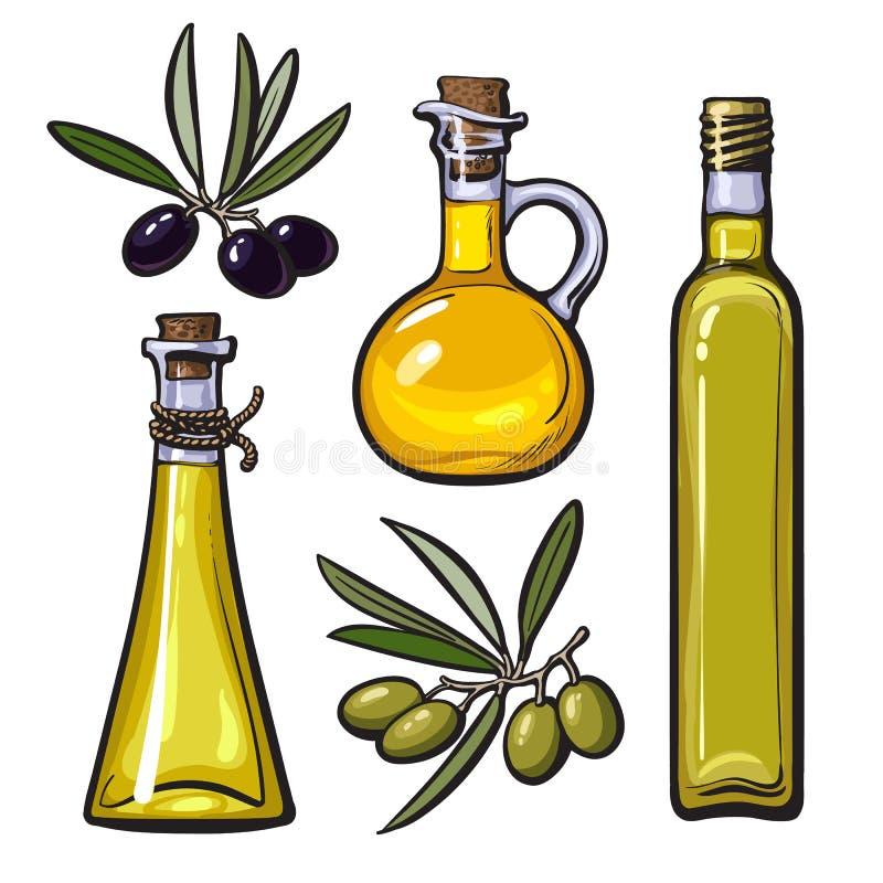 Satz Olivenölflaschen mit den schwarzen und grünen Oliven stock abbildung