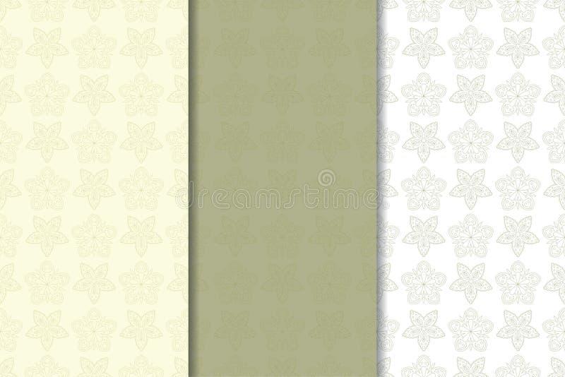 Satz Olivgrünblumenhintergründe Nahtlose Muster stock abbildung