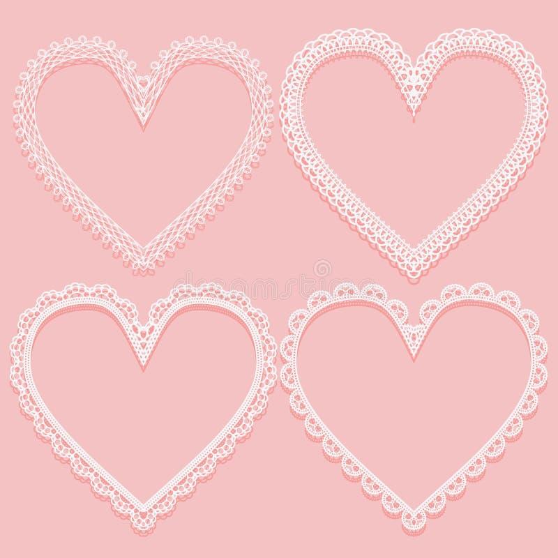 Satz openwork weiße Rahmen in Form der Spitzeherzen Gestaltungselemente auf rosa Hintergrund lizenzfreie abbildung
