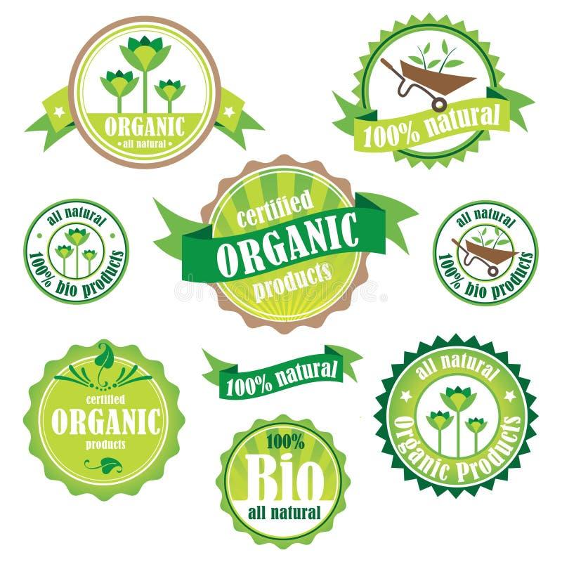 Satz organische/Bio-/natürliche Logos und Ausweise vektor abbildung