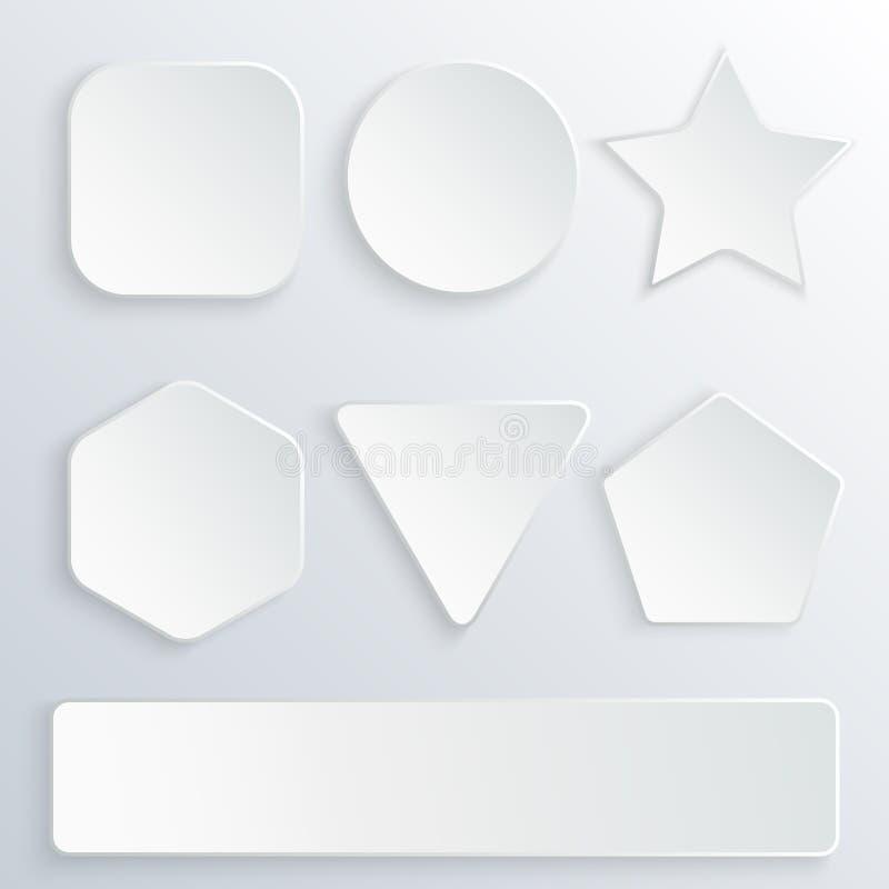 Satz Papier 3d knöpft in den verschiedenen Formen Weiße Knöpfe auf grauem Hintergrund Runde, Quadrat, Stern, Hexagon, Rechteck lizenzfreie abbildung