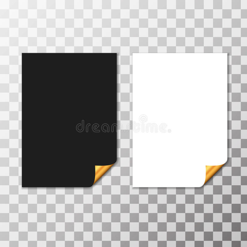 Satz Papierblätter mit goldener gekräuselter Ecke Vektor lizenzfreie abbildung