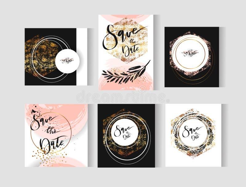 Satz perfekte Hochzeitszusammenfassungsvektor-Schablonenkarten mit den goldenen, Pastell-, Schwarzweiss-Farben Ideal für die Abwe lizenzfreie abbildung