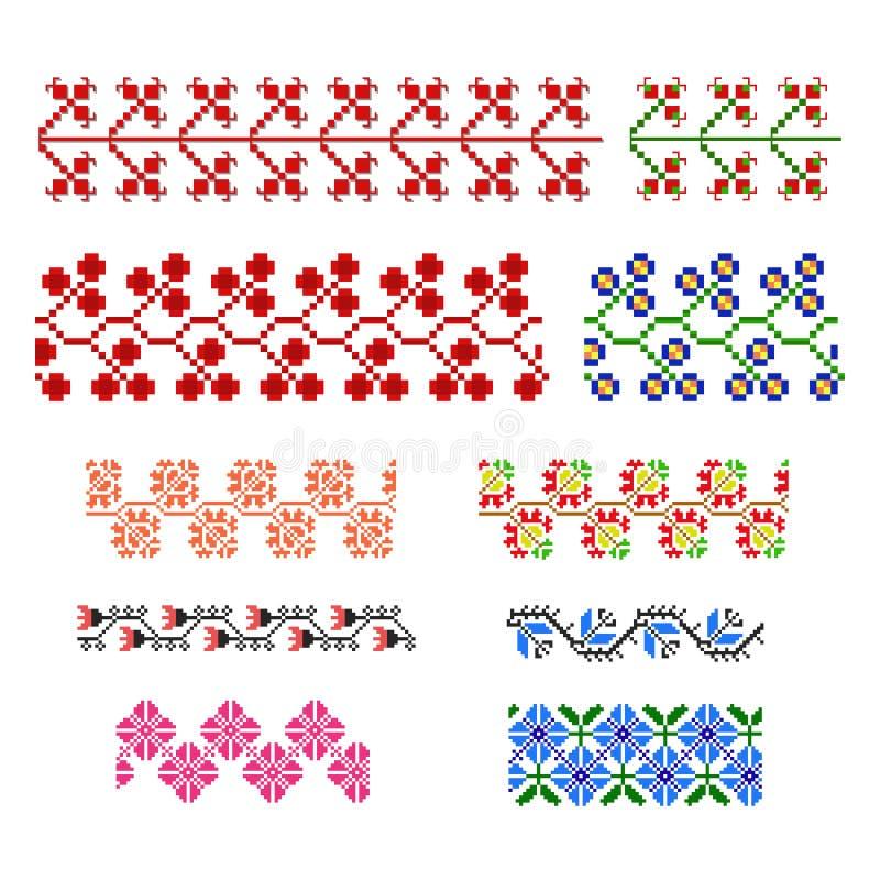 Satz Pixelverzierungselemente stockbild