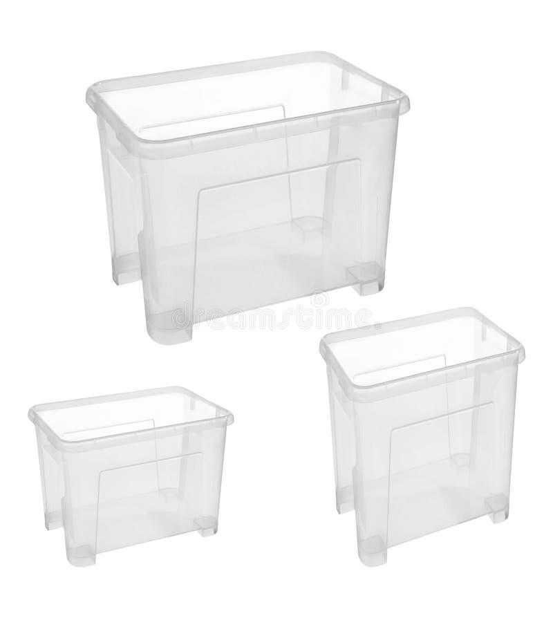 Satz Plastikhaushaltskörbe für Lagerung stockfotos