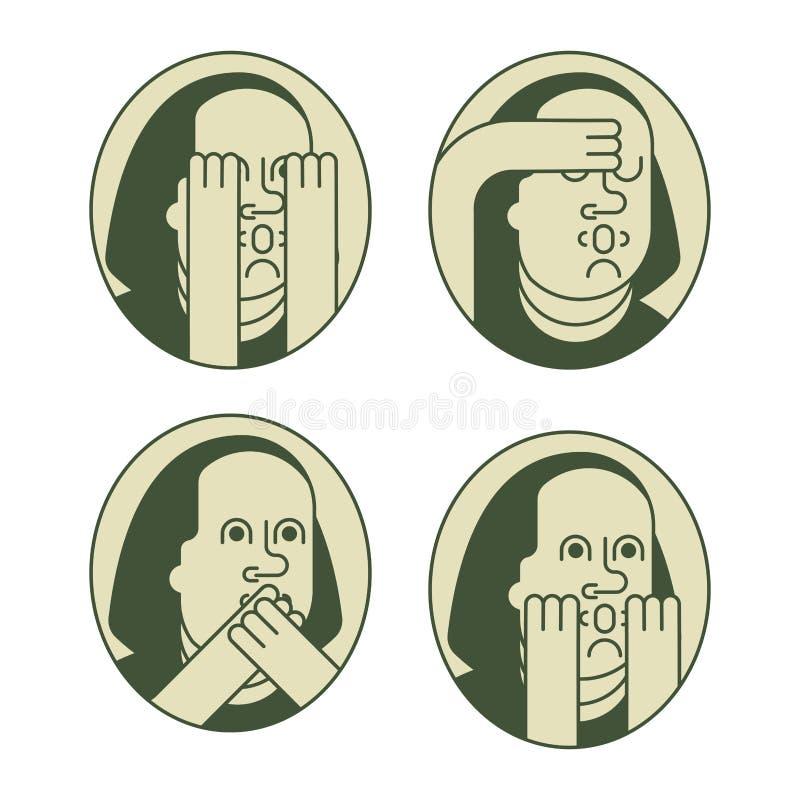 Satz Porträt-Franklins OMG Oh mein Gott Benjamin Franklin stock abbildung