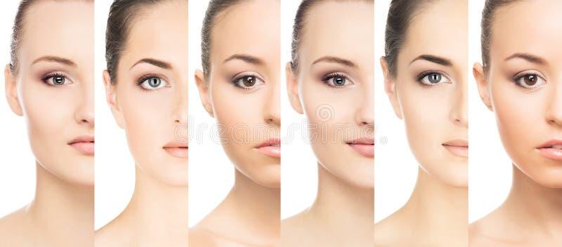 Satz Porträts von jungen Frauen im Make-up stockbild