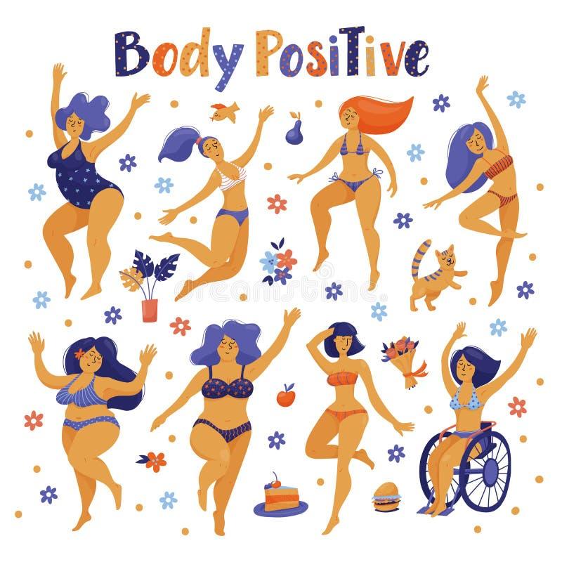Satz positive glückliche Frauen des Körpers, die in Bikini tanzen vektor abbildung