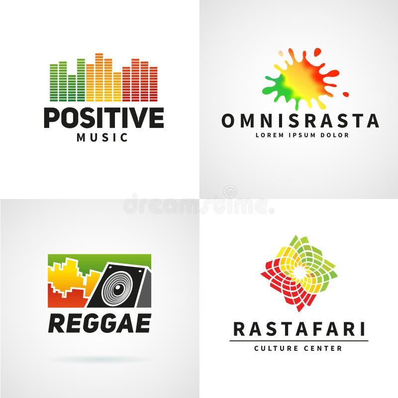 Satz positives Afrika-ephiopia Flaggen-Logodesign vektor abbildung