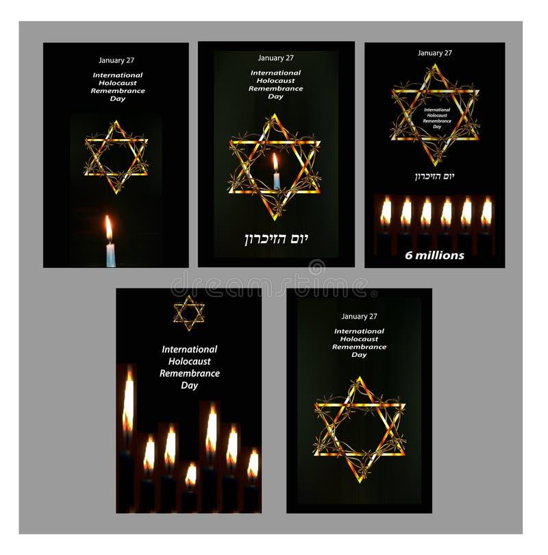 Satz Poster des internationalen Holocaust-Erinnerungs-Tages am 27. Januar hebräisch Auch im corel abgehobenen Betrag lizenzfreie abbildung