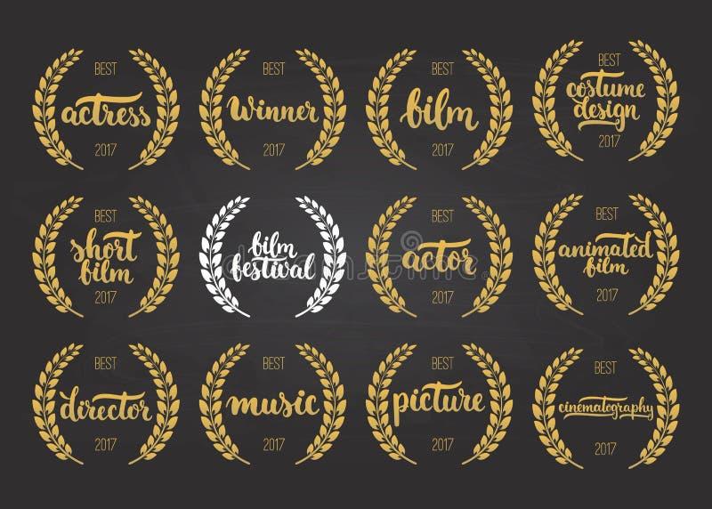 Satz Preise für besten Film, Schauspieler, das Bild, belebt, Kostümdesign, Schauspielerin, Direktor, Musik und Sieger für Filmfes vektor abbildung