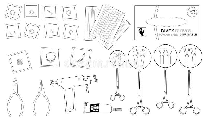 Satz professionelle piercing Ausrüstung form lizenzfreie abbildung