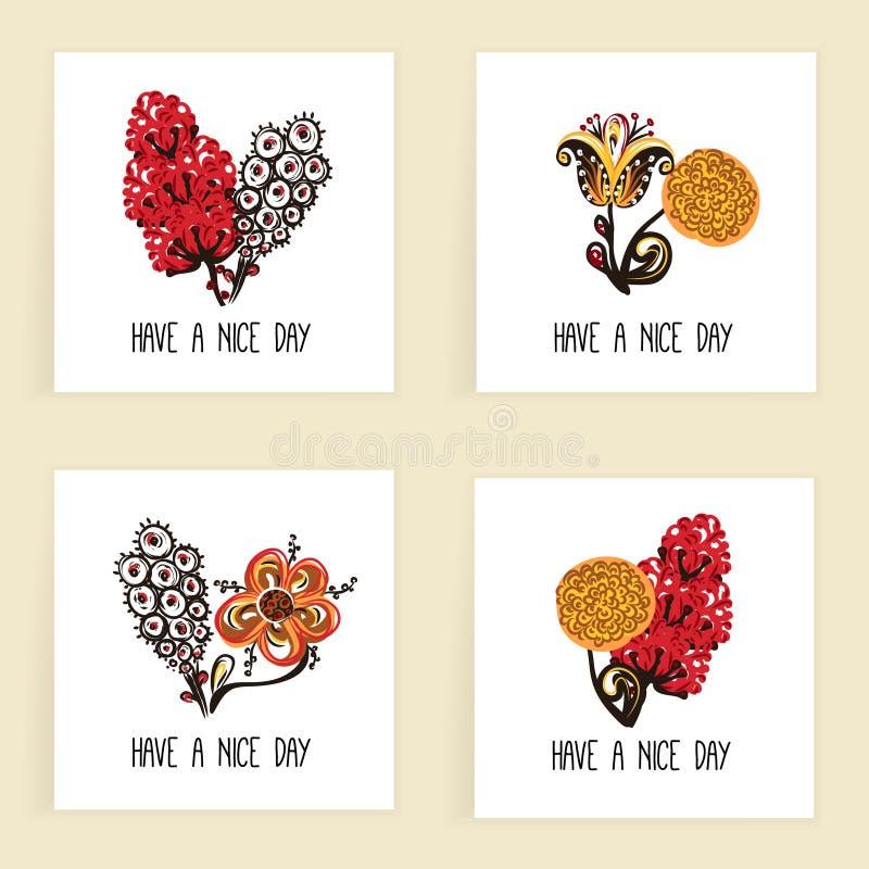 Satz quadratische Karten Hand gezeichnete kreative abstrakte Blumen Blumenauslegung? Hintergrund, Hintergrund, Auslegung der Abbi lizenzfreie abbildung