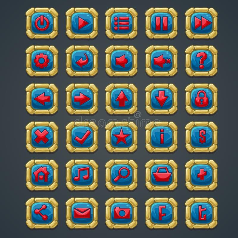 Satz quadratische Knöpfe mit Steinelementen und Symbolen für Netzschnittstellen- und -computerspiele lizenzfreie abbildung