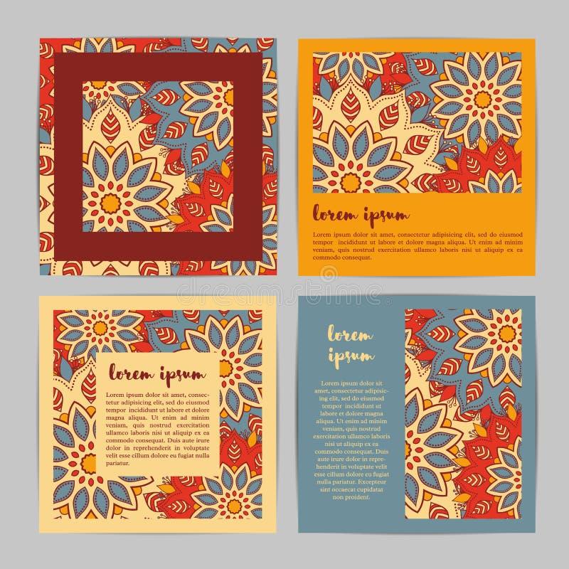 Satz quadratische Schablonenkarten mit Hand gezeichneter Blumenmandala Styl lizenzfreie abbildung