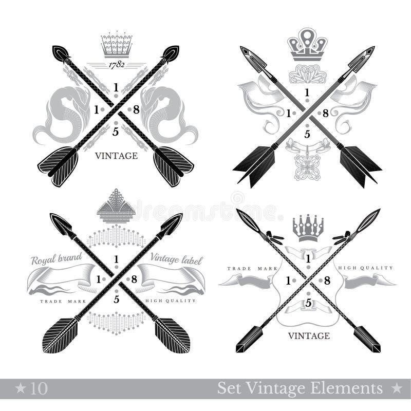 Satz Querpfeile mit abstrakten Elementen Hippie-Weinleseartschablonen für Geschäft, Aufkleber, Logos vektor abbildung