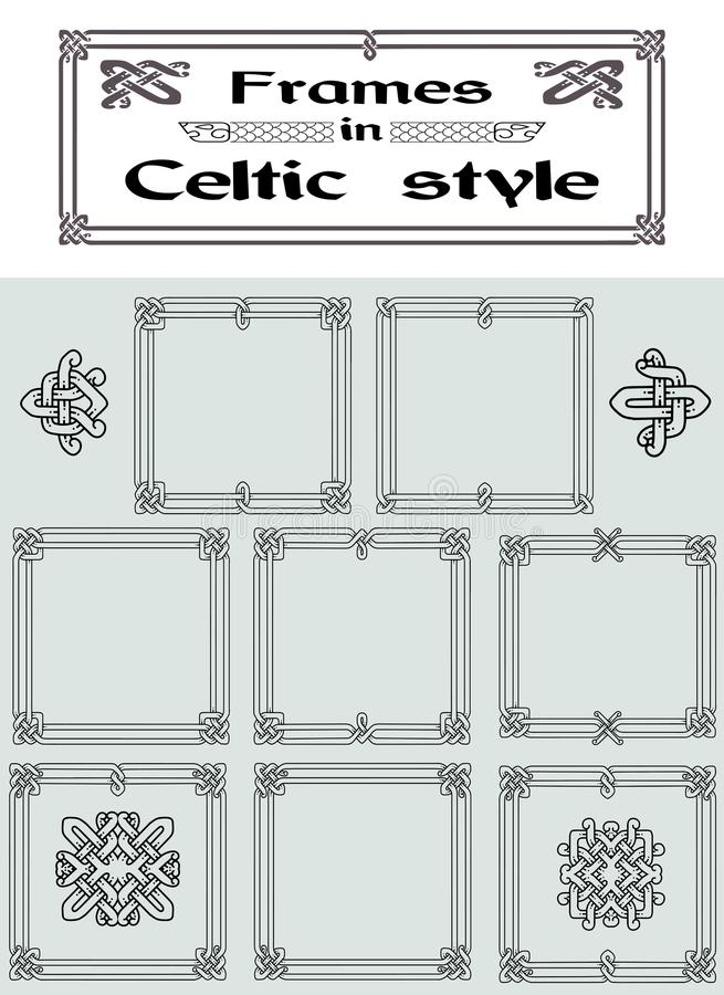 Satz Rahmen In Der Keltischen Art Vektor Abbildung - Illustration ...
