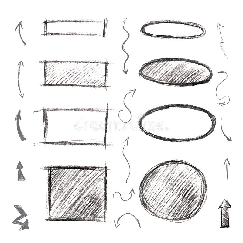 Satz Rahmen, Pfeile Und Symbole Gezeichnet Mit Einem Bleistift ...
