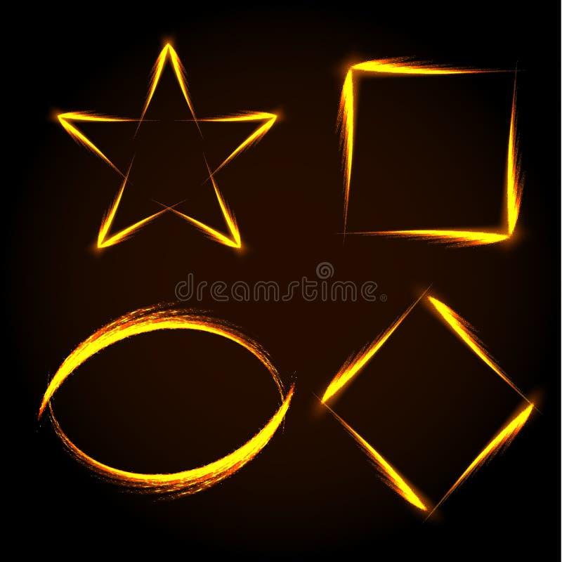 Satz Rahmens des Gold vier Stern, Quadrat, Kreis und Raute vektor abbildung