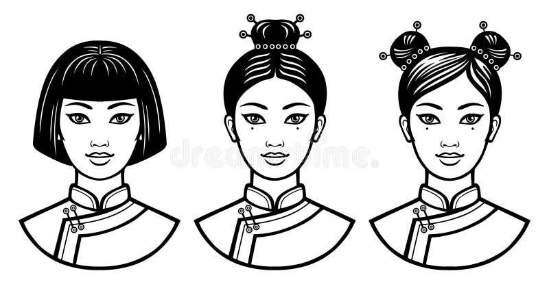 Satz realistische Porträts der jungen chinesischen Mädchen mit verschiedenen Frisuren vektor abbildung