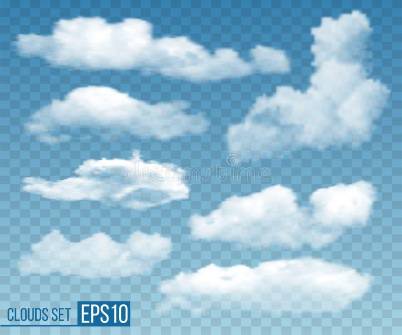 Satz realistische transparente Wolken Vektor vektor abbildung