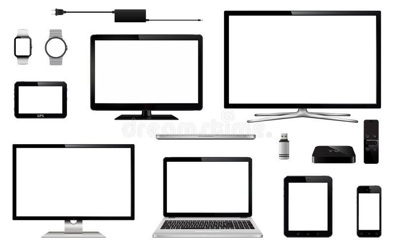 Satz realistischen Fernsehens, Computermonitor, Laptops, Tablette, Handy, intelligente Uhr, usb-Blitz-Antrieb, GPS-Navigationsanl lizenzfreie stockfotos