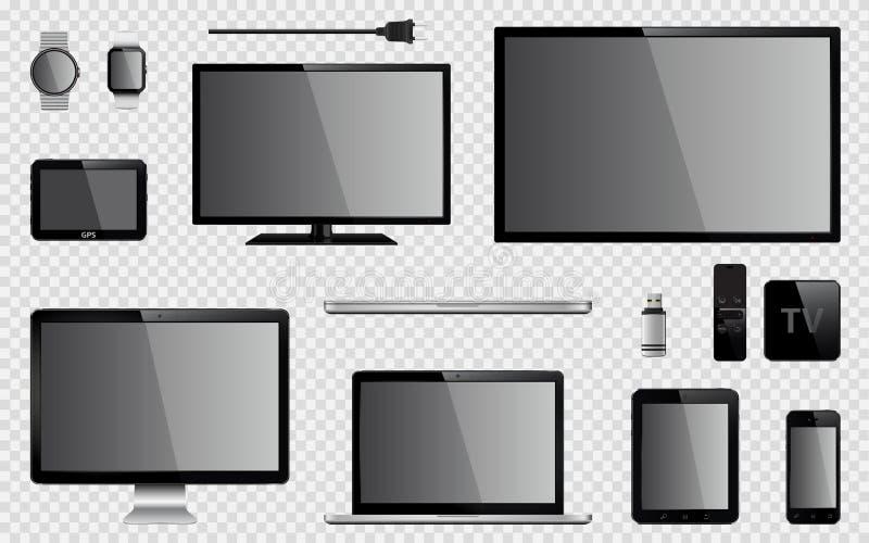 Satz realistischen Fernsehens, Computermonitor, Laptops, Tablette, Handy, intelligente Uhr, usb-Blitz-Antrieb, GPS-Navigationsanl stockfoto