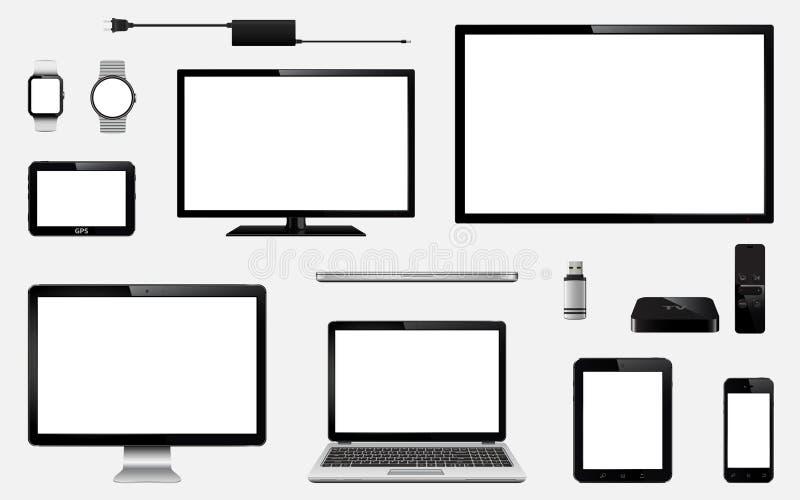 Satz realistischen Fernsehens, Computermonitor, Laptops, Tablette, Handy, intelligente Uhr, usb-Blitz-Antrieb, GPS-Navigationsanl lizenzfreie abbildung