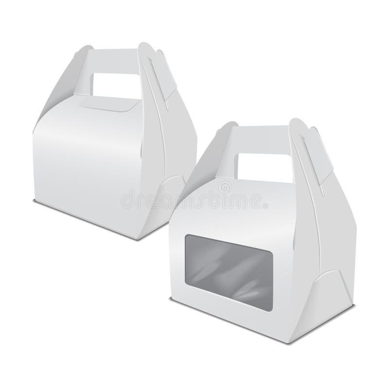 Satz realistischer Papierkuchenverpackungs-Kastenspott oben, Geschenkbehälter mit Griff und Fenster Nehmen Sie Lebensmittelkasten stock abbildung