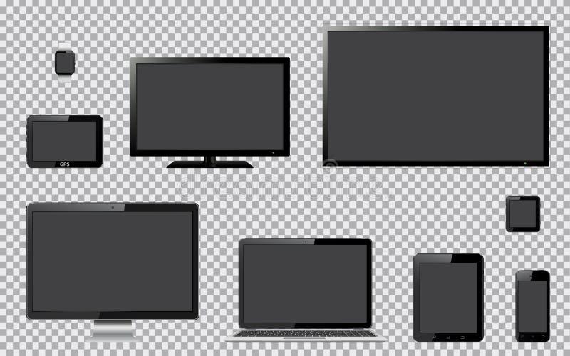 Satz realistisches Fernsehen, Computermonitor, Laptop, Tablette, Handy, intelligente Uhr und GPS-Navigationsanlagegerät mit vektor abbildung