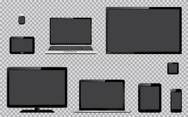 Satz realistisches Fernsehen, Computermonitor, Laptops, Tablette, Handy, intelligente Uhr und GPS-Navigationsanlagegerät mit leer stock abbildung