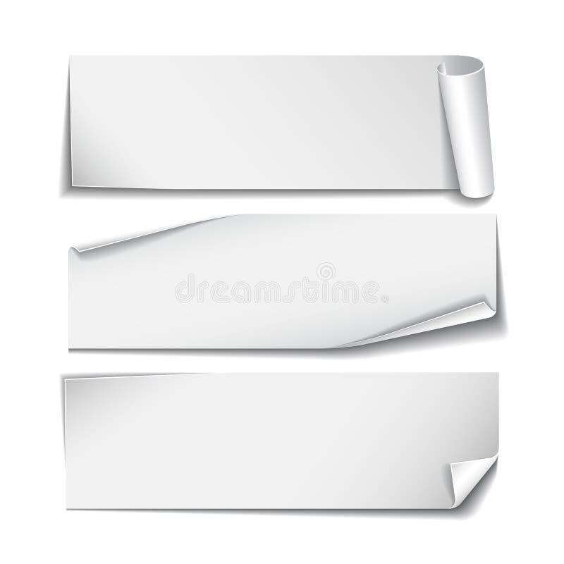 Satz rechteckige Papieraufkleber auf Weiß stock abbildung