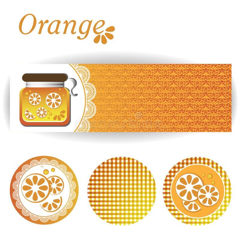 Satz rechteckige und runde Aufkleber für Orangenmarmelade lizenzfreies stockbild