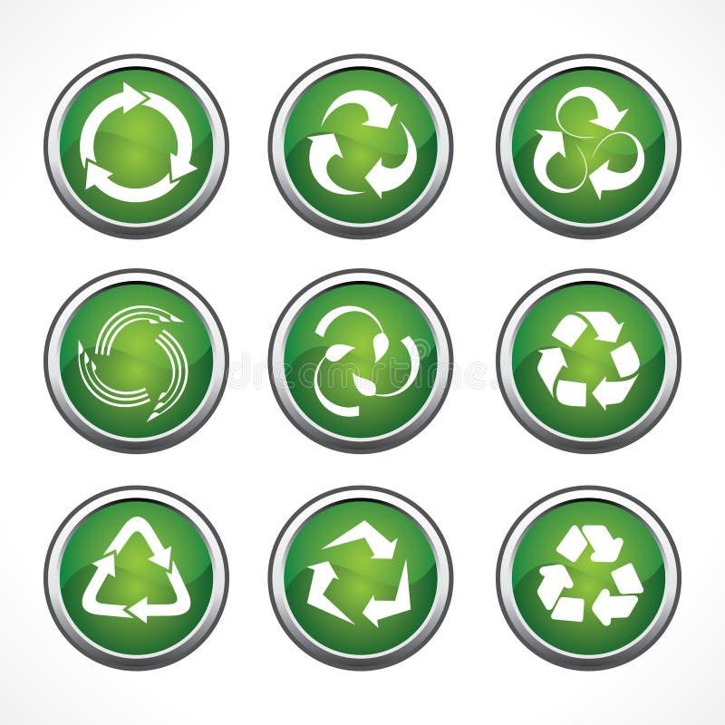 Satz Recycling-Symbole und Ikonen vektor abbildung