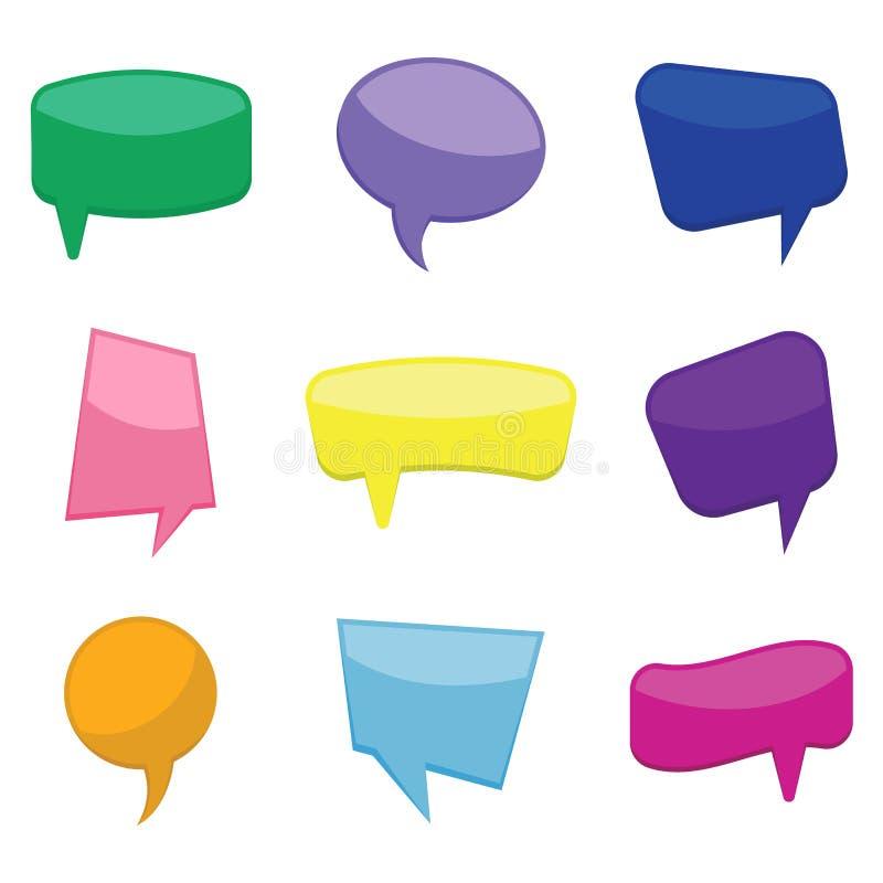 Satz Rede mit neun Ballonen der bunten Karikatur komische sprudelt ohne Phrasen stock abbildung