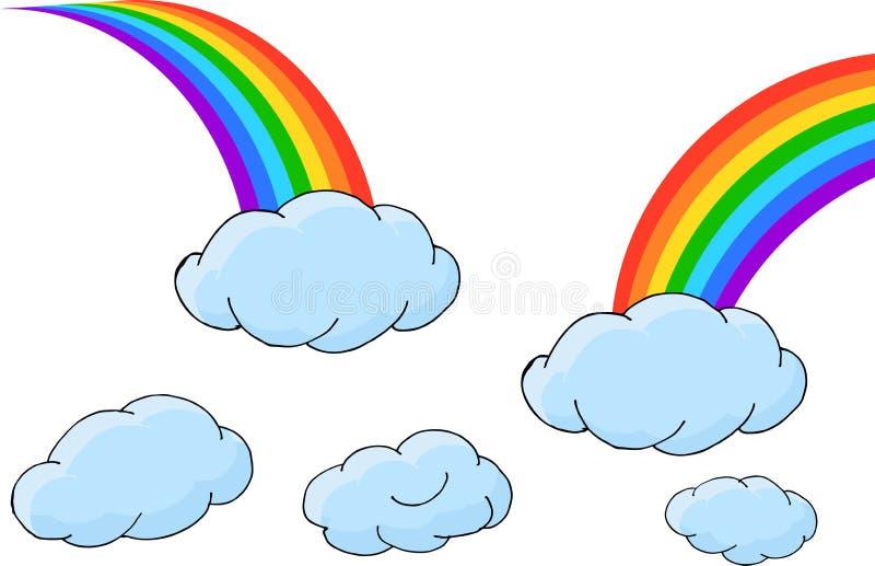 Satz Regenbogen mit Wolken Auch im corel abgehobenen Betrag vektor abbildung