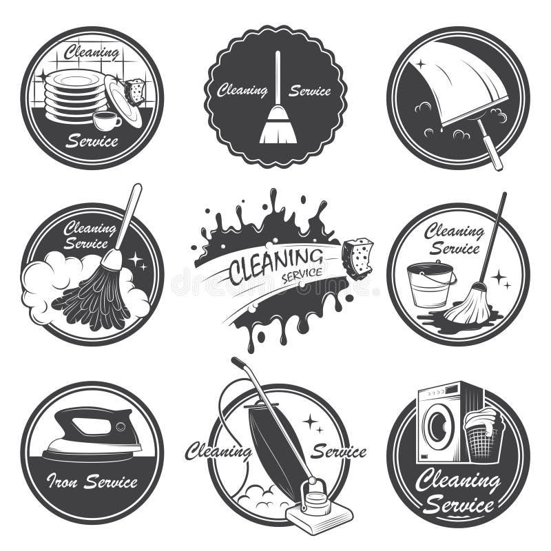 Satz Reinigungsservice-Embleme lizenzfreie abbildung