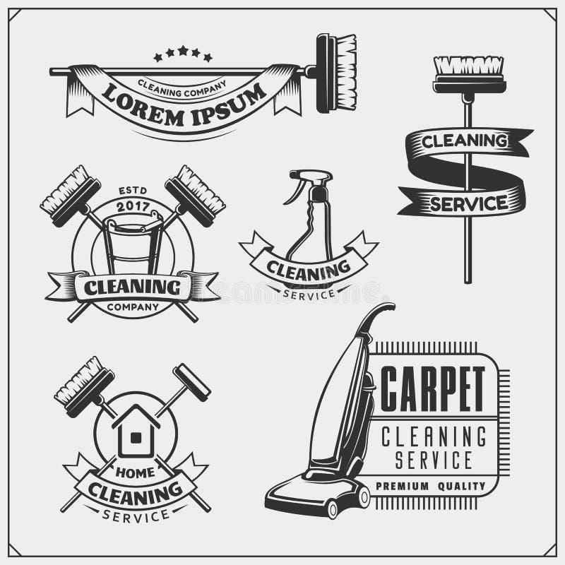 Satz Reinigungsservice-Embleme, -ausweise, -aufkleber und -Gestaltungselemente Abbildung der roten Lilie stock abbildung