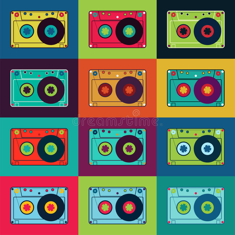 Satz Retro- Audiokassetten Retro- Plakat mit bunten Kassetten Auch im corel abgehobenen Betrag stock abbildung