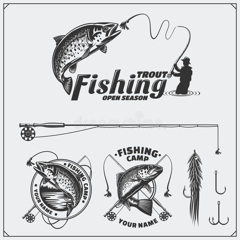 Satz Retro- Fischenaufkleber, -ausweise, -embleme und -Gestaltungselemente Weinleseartdesign vektor abbildung