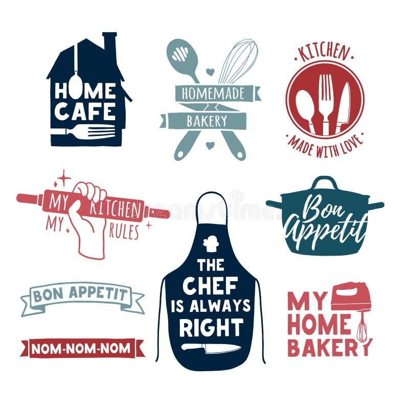 Satz Retro- handgemachte Ausweise der Farbweinlese, Aufkleber und Logoelemente, Retro- Symbole für Bäckerei kaufen und kochen Ver vektor abbildung