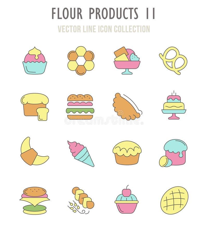 Satz Retro- Ikonen von Mehl-Produkten lizenzfreie abbildung