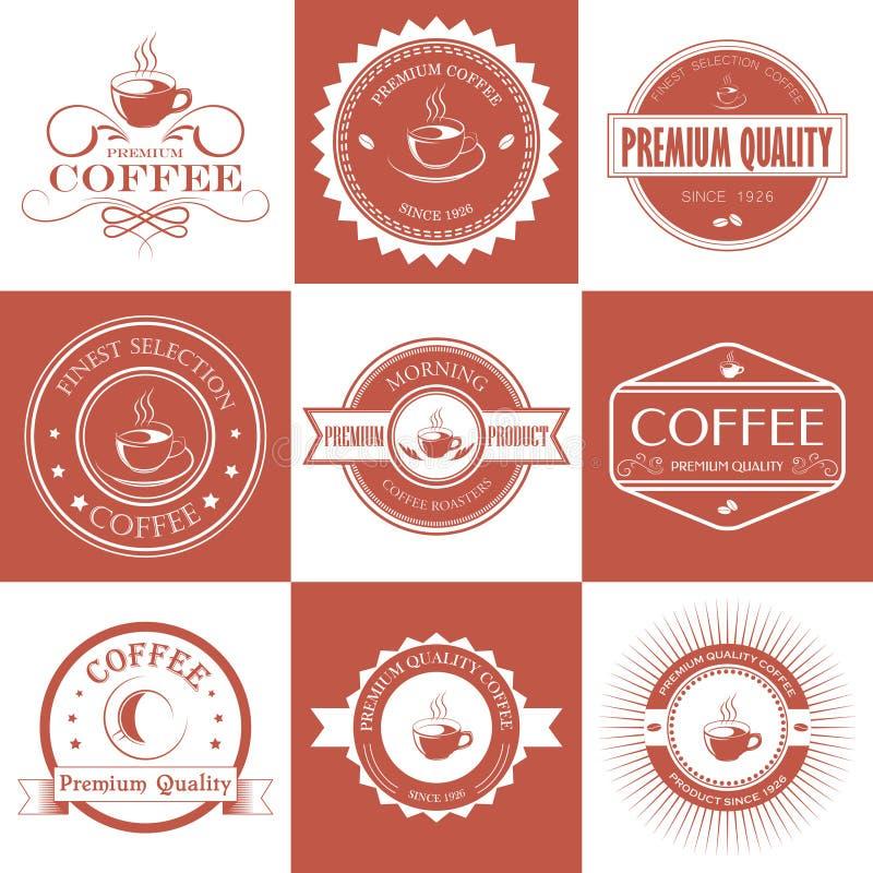 Satz Retro- Kaffee der Weinlese wird und Aufkleber deutlich stock abbildung