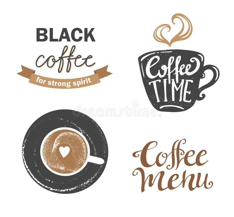 Satz Retro- Kaffee der Weinlese wird und Aufkleber deutlich Auch im corel abgehobenen Betrag lizenzfreie abbildung